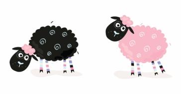 Mummy and Black Baby Sheep