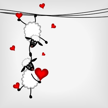 two cute sheep hanging on washing line holding red heart - vector illustration