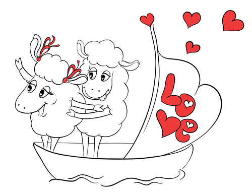 Couple in love. Two happy sheep in funny pose on cruise ship boa