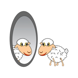 A funny cartoon sheep looking at itself in a mirror